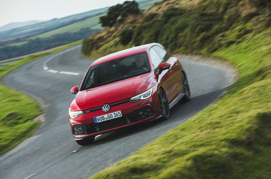 Britain's best affordable drivers car 2020 - VW Golf GTI - cornering front