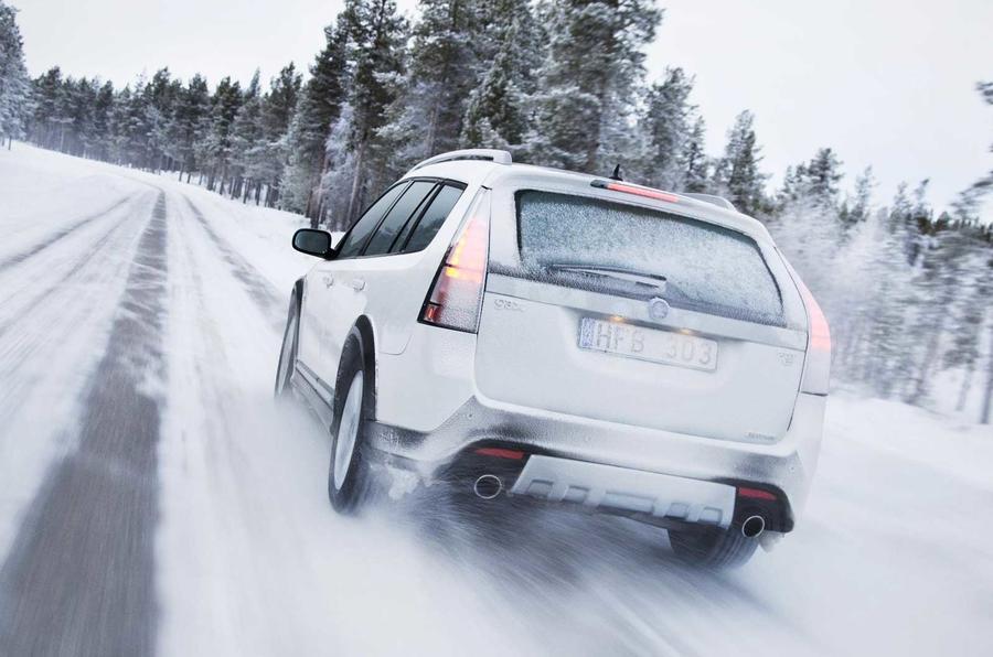 Winter driving Saab