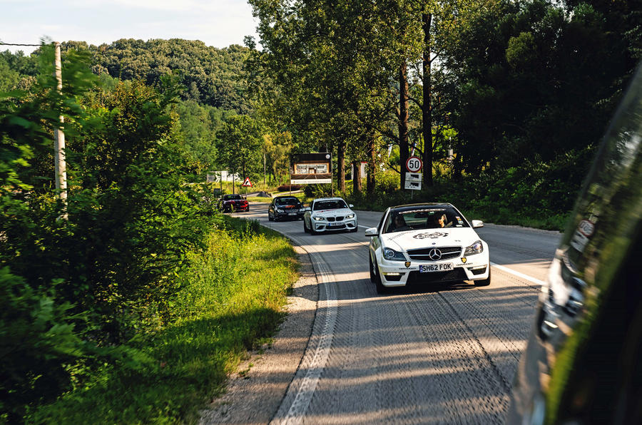 Rally for Heroes - Mercedes and BMW on country roads