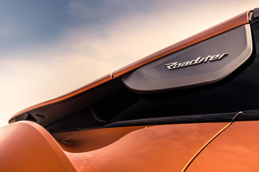 BMW i8 Roadster 2018 UK first drive review - rear wing badge