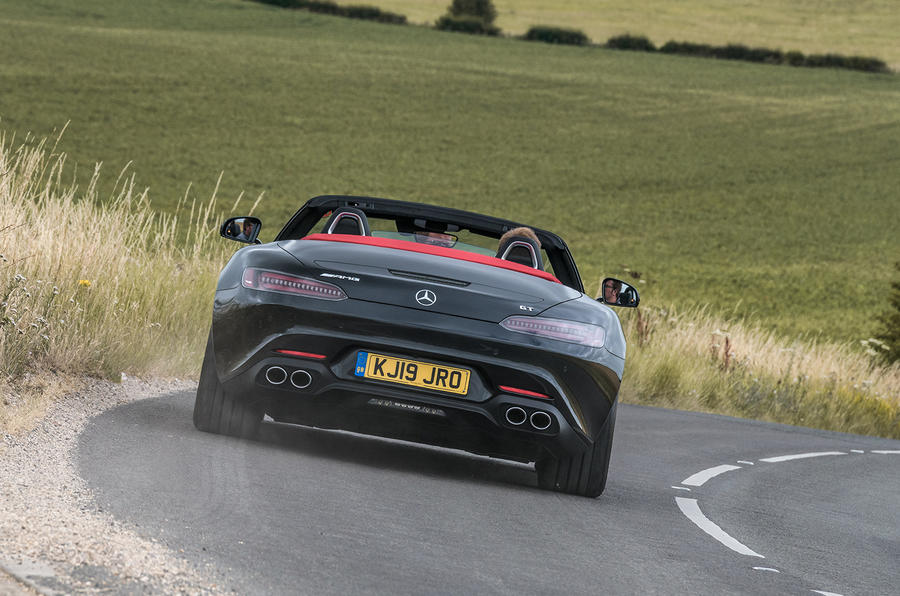 Mercedes-AMG GT Roadster 2019 UK first drive review - cornering rear