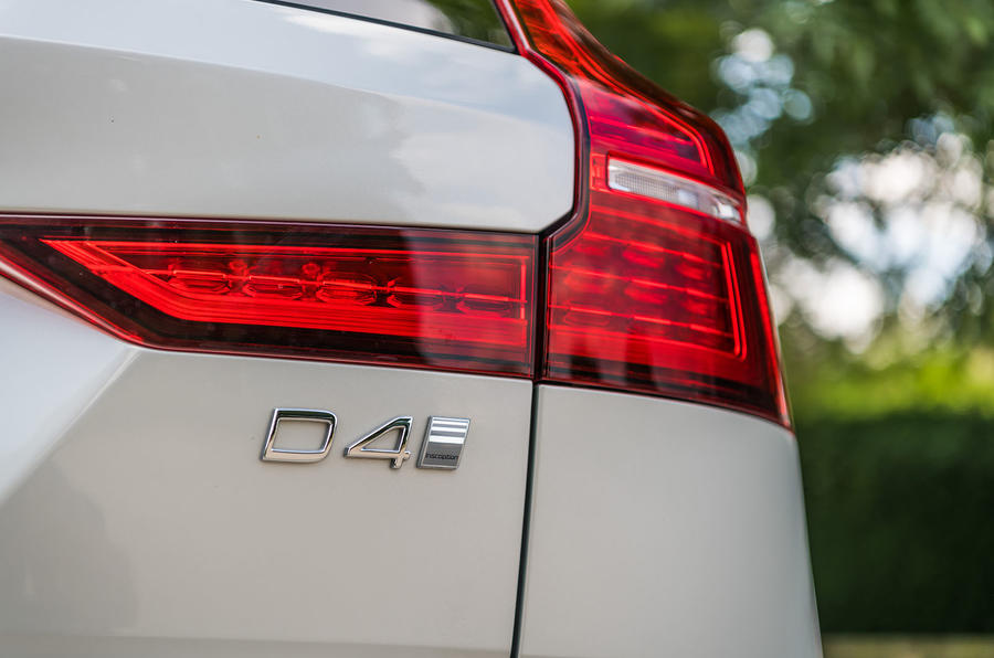 Volvo V60 D4 Inscription 2018 UK first drive review rear badge