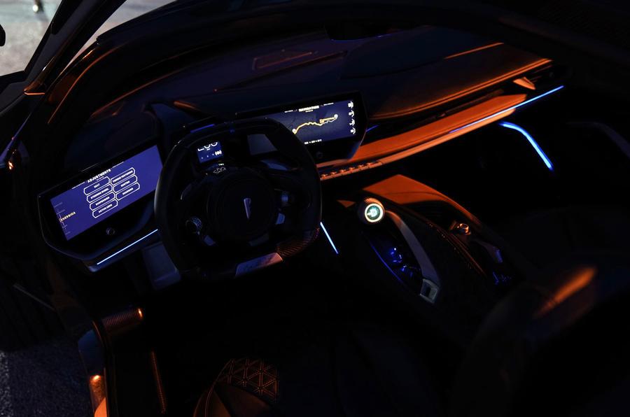 Pininfarina Battista 2019 first drive review - cabin at night