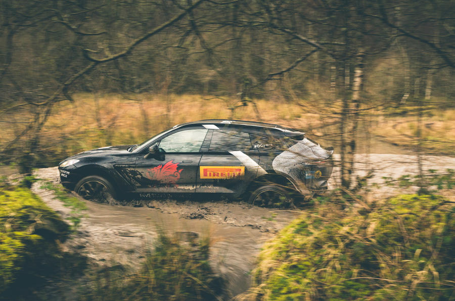 Aston Martin DBX 2020 prototype drive - wading side