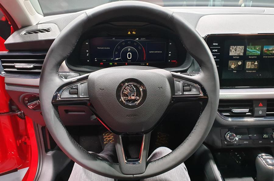 Skoda Scala official reveal stage steering wheel