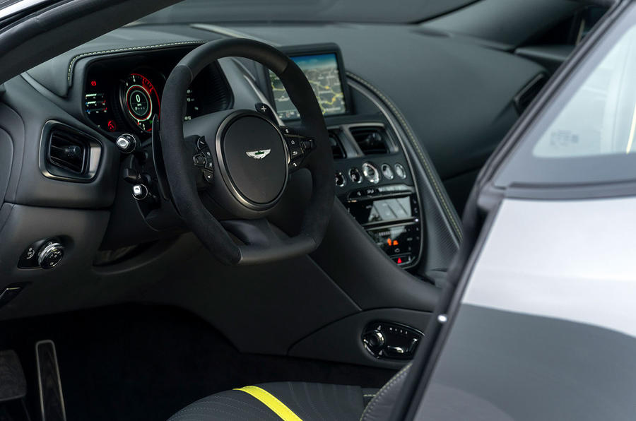 Aston Martin DB11 AMR 2018 review steering wheel