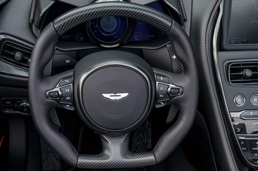 Aston Martin DBS Superleggera Volante 2019 first drive review - steering wheel