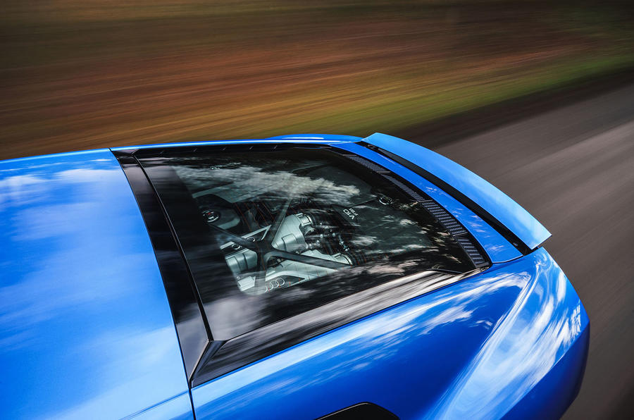 Audi R8 RWD 2020 UK first drive review - engine cover