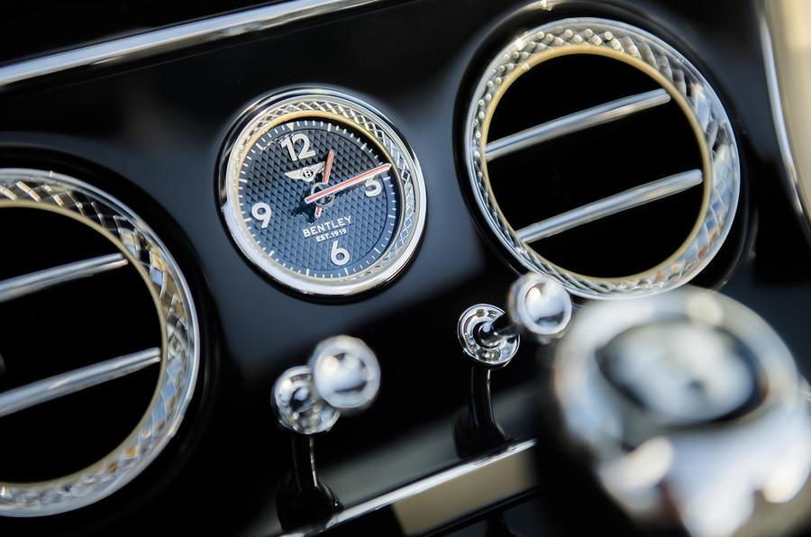 Bentley Continental GT Convertible 2019 UK first drive review - clock