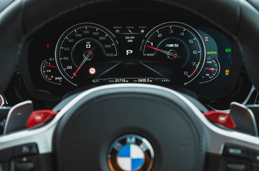 BMW M5 2018 long-term review instrument cluster