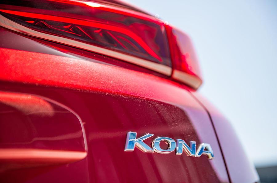 Hyundai Kona EV prototype drive 2018 Kona badge