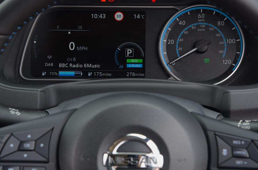 Nissan Leaf 62kWh 2019 UK first drive review - instruments