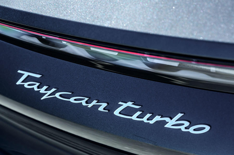 Porsche Taycan Turbo 2020 UK first drive review - rear badge