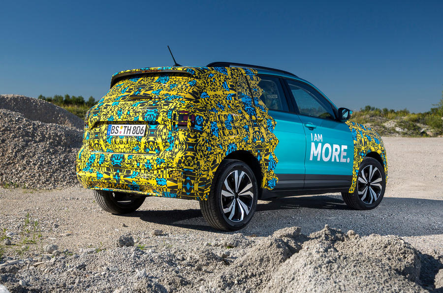 Volkswagen T-Cross prototype 2019 first drive review static rear