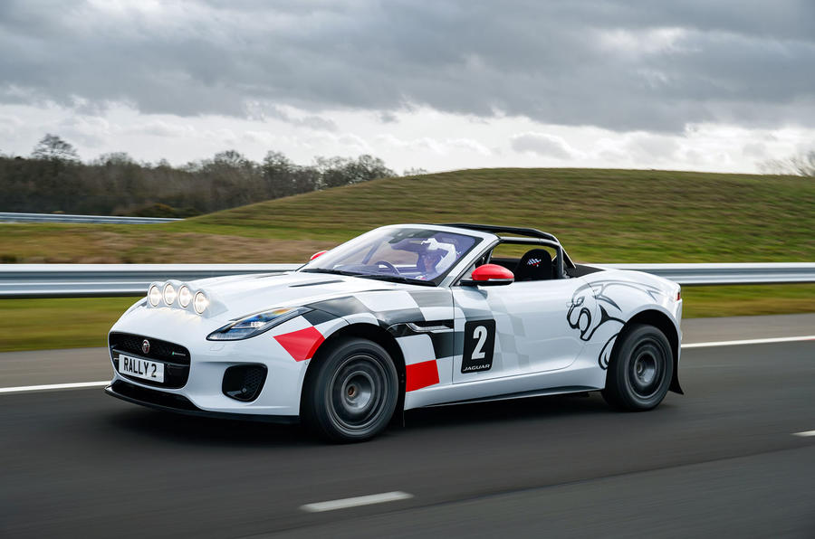 Jaguar F-Type rally car 2019 driven on the road front