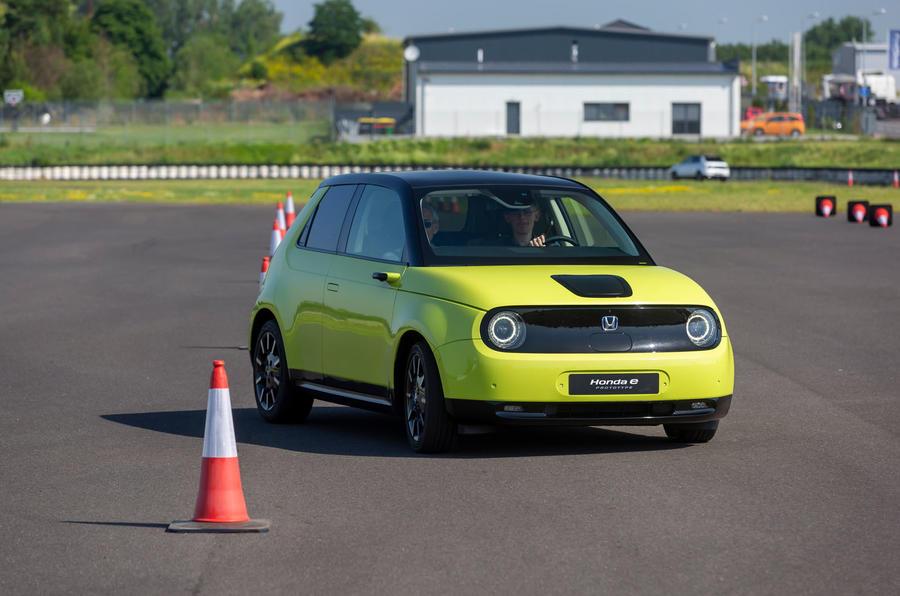 Honda e 2019 prototype drive - cones