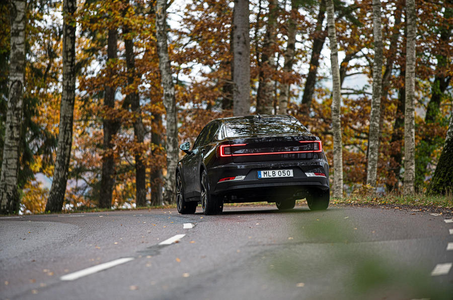 2020 Polestar 2 prototype drive - on the road cornering rear