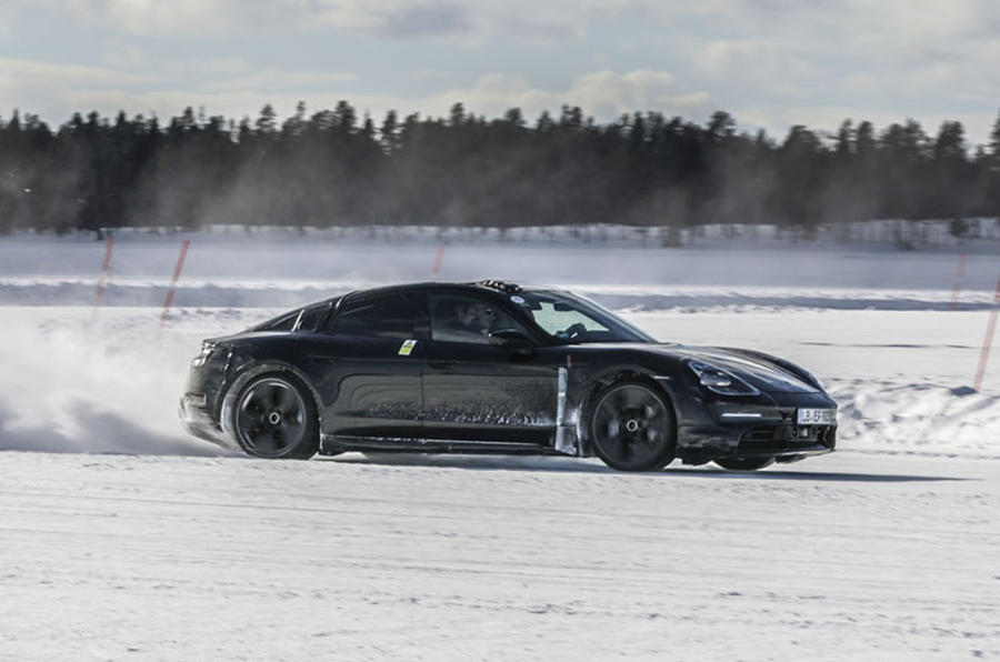 Porsche Taycan prototype ride 2019 - drift side