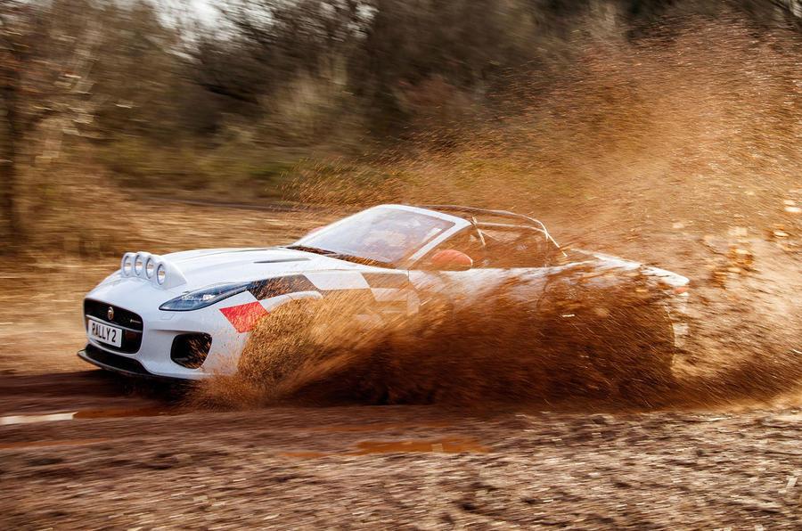 Jaguar F-Type rally car 2019 driven mud side
