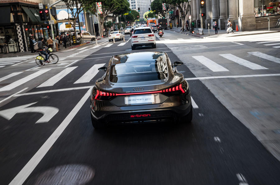 Audi E-tron GT concept 2020 prototype first drive review - on the road rear