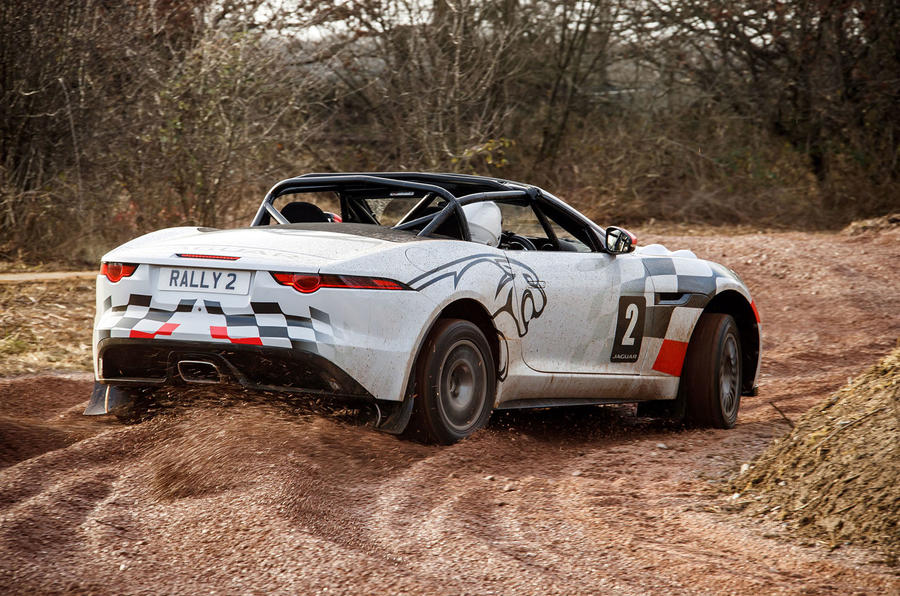 Jaguar F-Type rally car 2019 driven gravel rear