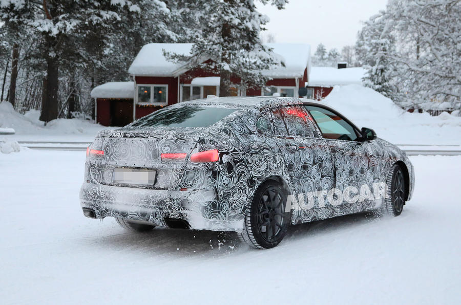 BMW 2 Series camouflage winter testing 2019 - road rear