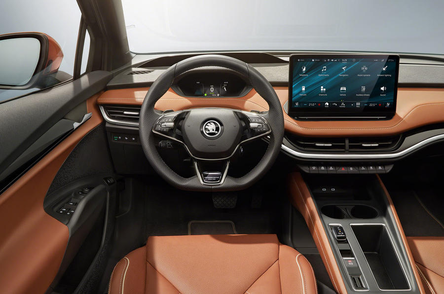 Skoda Enyaq official reveal images - studio steering wheel