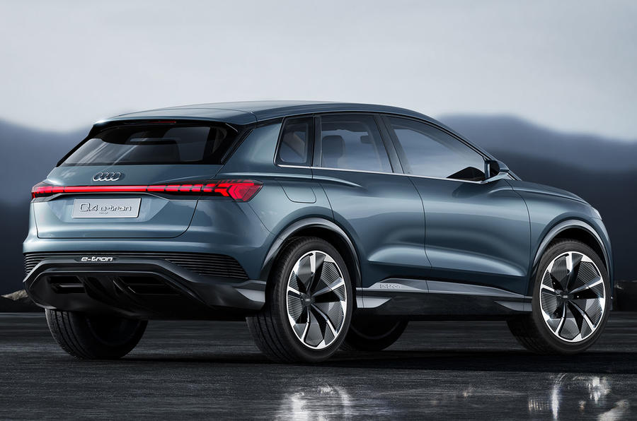Audi Q4 E-tron electric SUV Geneva 2019 official press images - rear