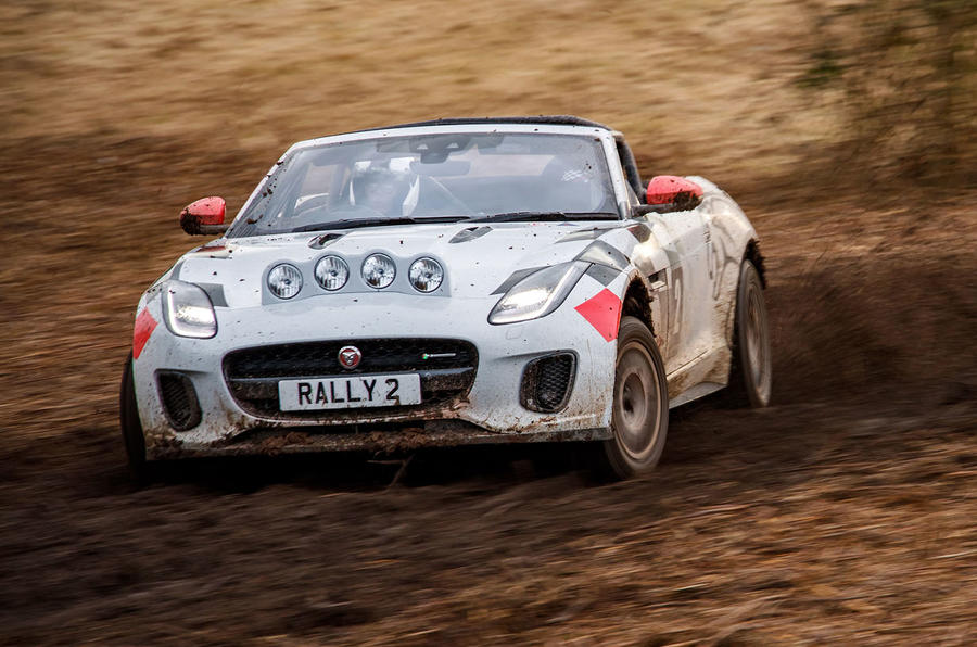 Jaguar F-Type rally car 2019 driven slide front