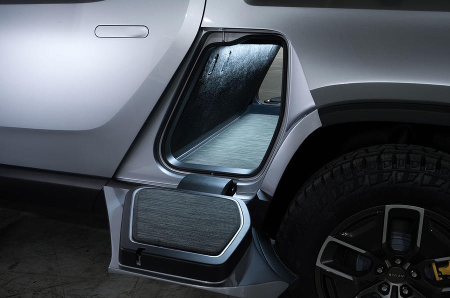 Rivian R1T electric pick-up reveal - side storage