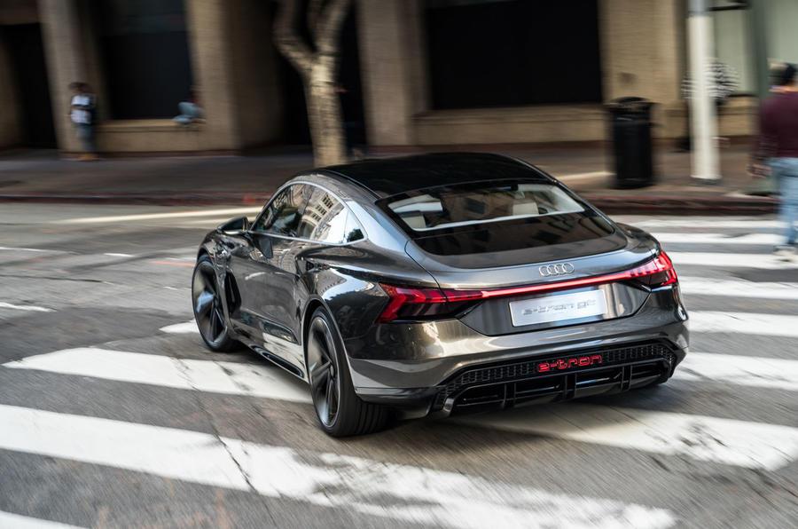 Audi E-tron GT concept 2020 prototype first drive review - cornering rear