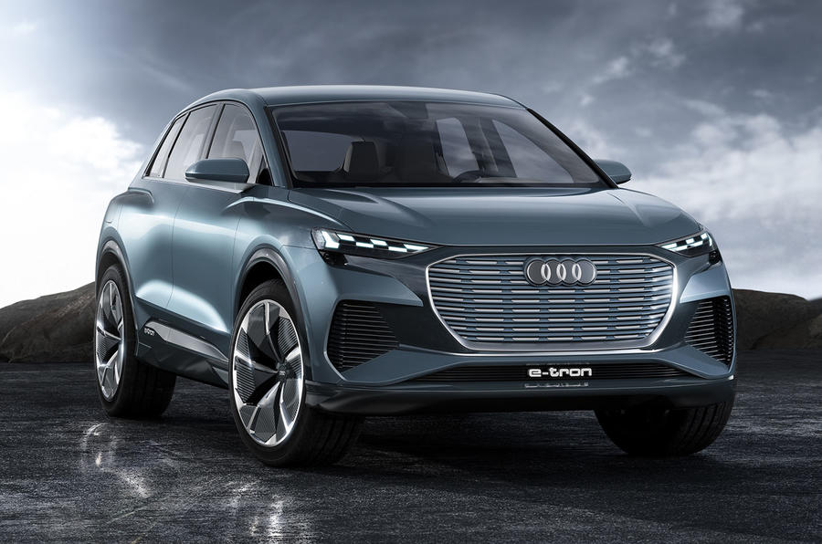 Audi Q4 E-tron electric SUV Geneva 2019 official press images - front