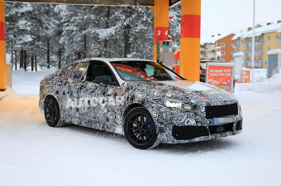 BMW 2 Series camouflage winter testing 2019 - road front