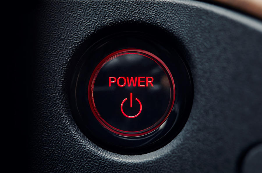Honda e 2019 prototype drive - start button