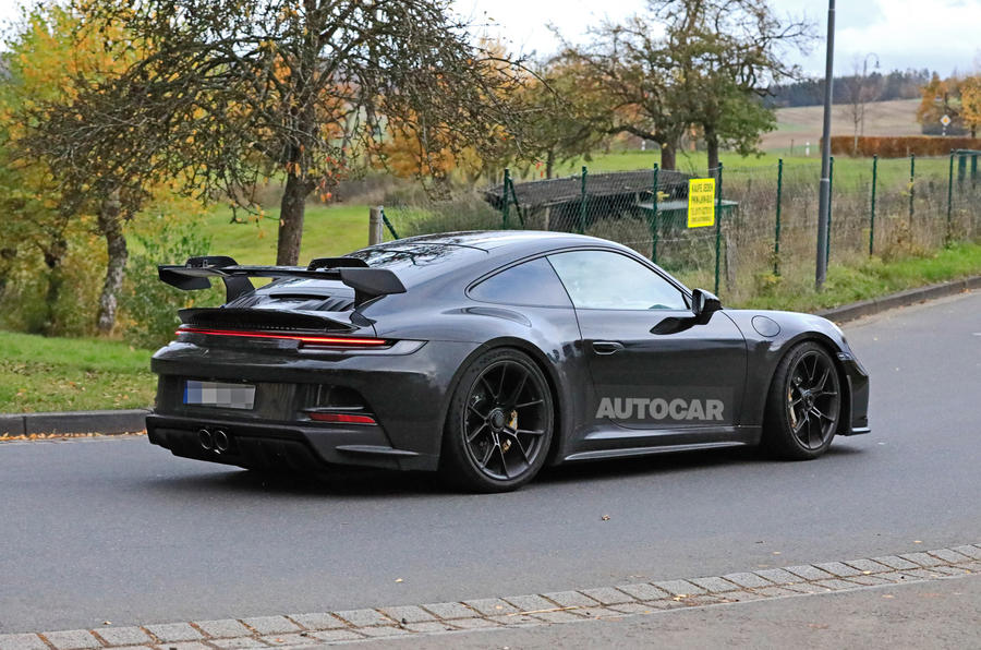 Porsche 911 GT3 prototype at Nurburgring - side rear