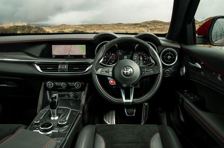 Alfa Romeo Stelvio Quadrifoglio 2018 UK RHD first drive - steering wheel