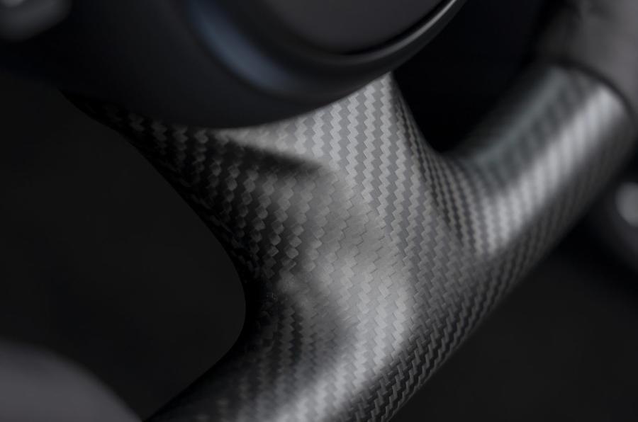 Aston Martin DBS Superleggera Volante 2019 first drive review - steering wheel carbon