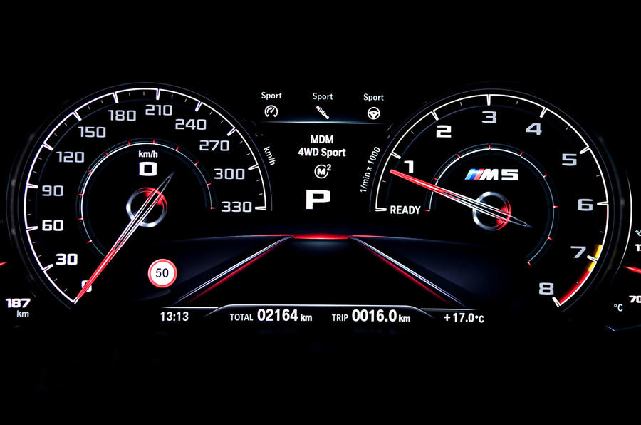 BMW M5 Competition 2018 first drive review instrument cluster