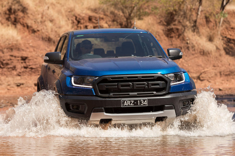 Ford Ranger Raptor 2018 first drive review front in water