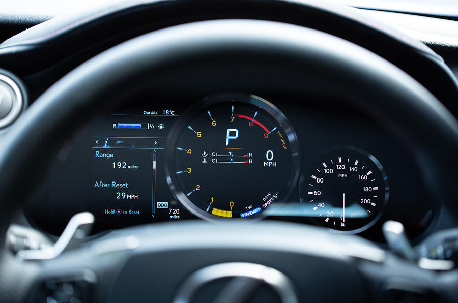 Lexus RC F with track pack 2019 first drive review - instruments