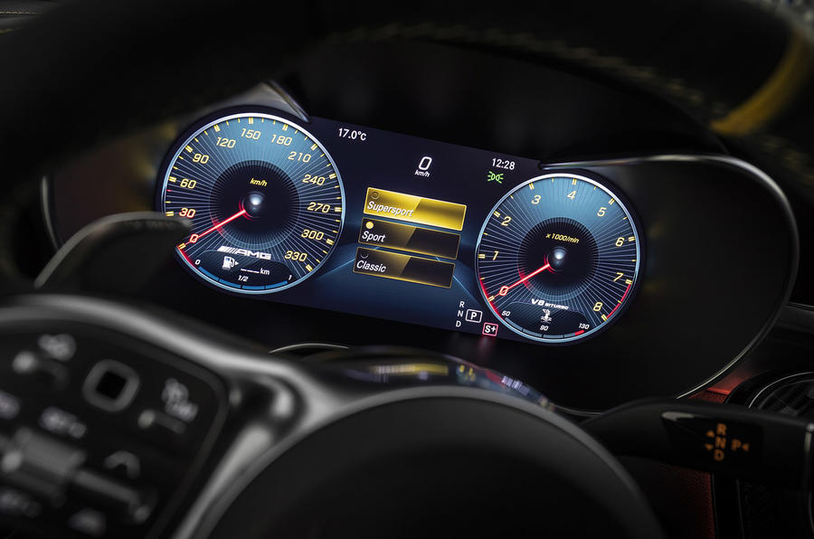 Mercedes-AMG C63 2018 first drive review instrument cluster sport mode