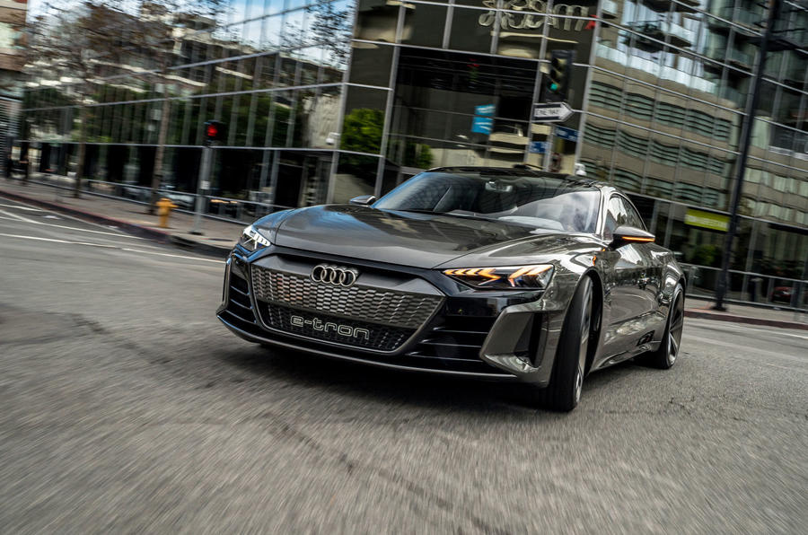 Audi E-tron GT concept 2020 prototype first drive review - cornering front