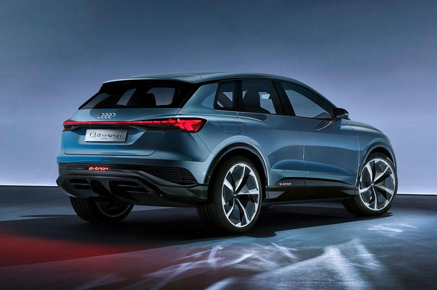 Audi Q4 E-tron electric SUV Geneva 2019 official press images - static rear