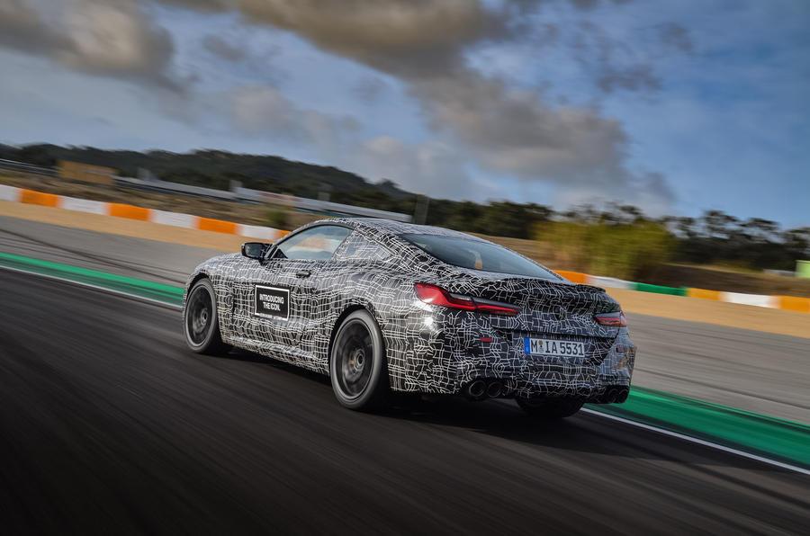2019 BMW M8 prototype ride - track rear three quarters