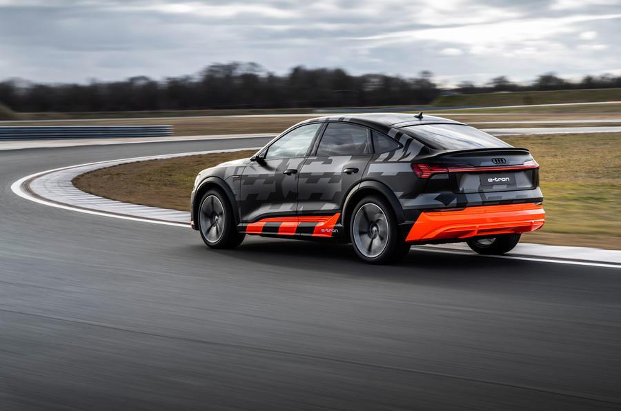 Audi E-tron S Sportback prototype drive - on track rear
