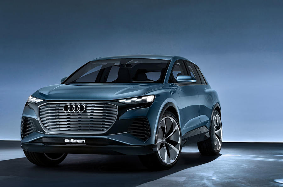 Audi Q4 E-tron electric SUV Geneva 2019 official press images - static front
