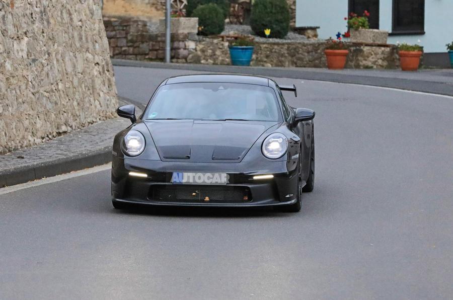 Porsche 911 GT3 prototype at Nurburgring - road nose