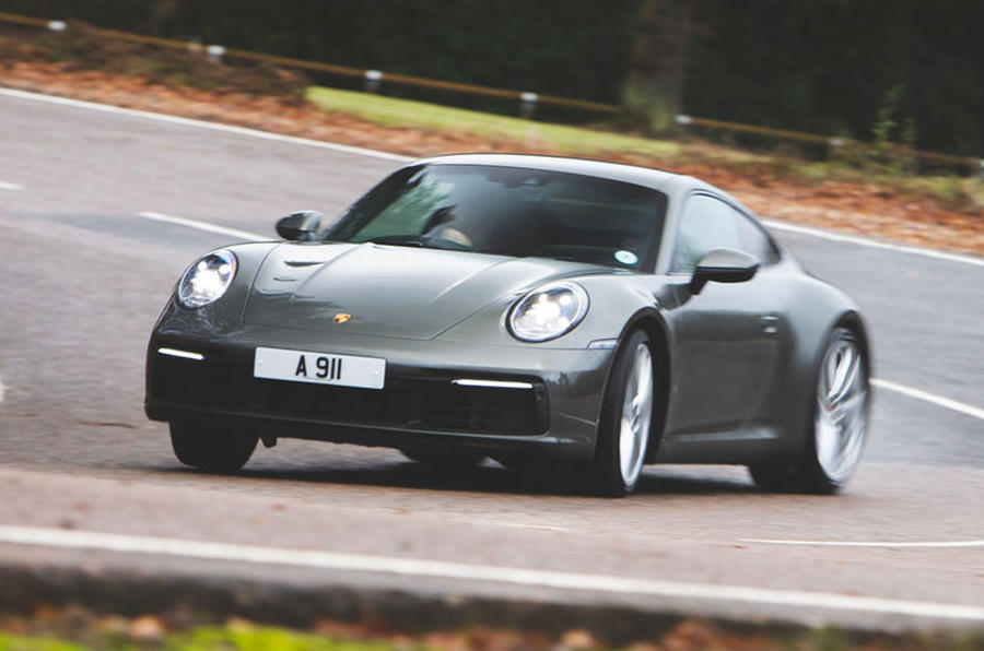 Porsche 911 Carrera 2019 UK first drive review - cornering front