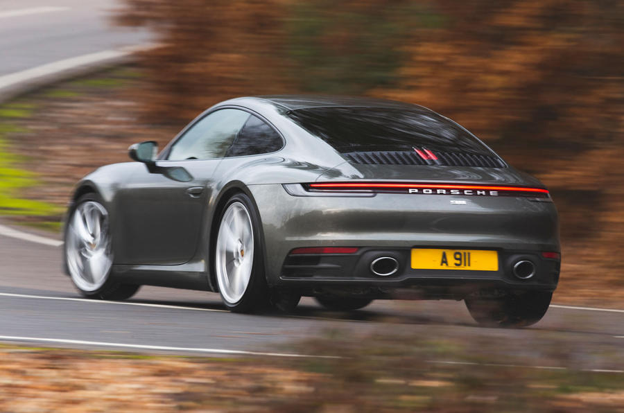 Porsche 911 Carrera 2019 UK first drive review - cornering rear