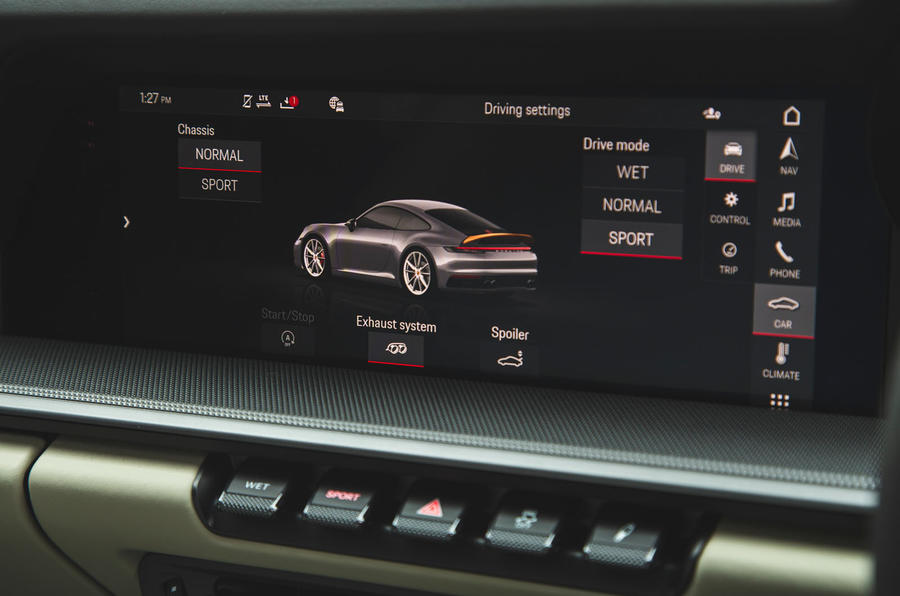 Porsche 911 Carrera 2019 UK first drive review - drive mode settings